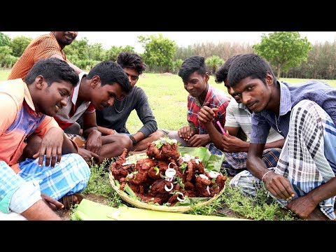 Full Chicken Fry Prepared by my Friends in my Village | village food taste