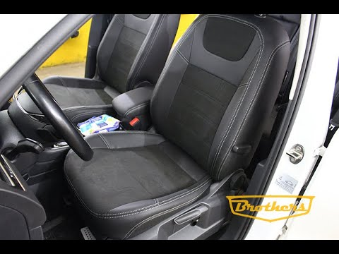 """Чехлы на Volkswagen Tiguan 2, серии """"Alcantara Full"""" - серая строчка"""