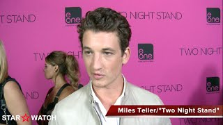 "Miles Teller red carpet interview at ""Two Night Stand"" premiere"