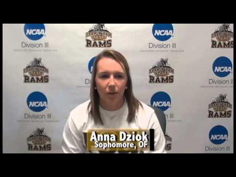 Framingham State Athlete of the Week- Anna Dziok (Softball) 3/20/16