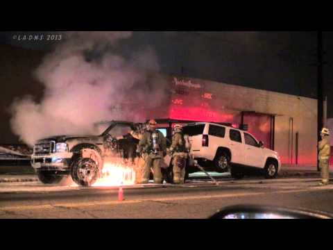 towtruck - LAFD / Los Angeles Firefighters knock down a Tow Truck on fire on Central Avenue near 12th Street. Not sure but it looks like it may have started under the d...