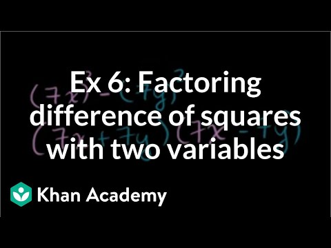 Factoring Difference Of Squares Two Variables Example 2 Video
