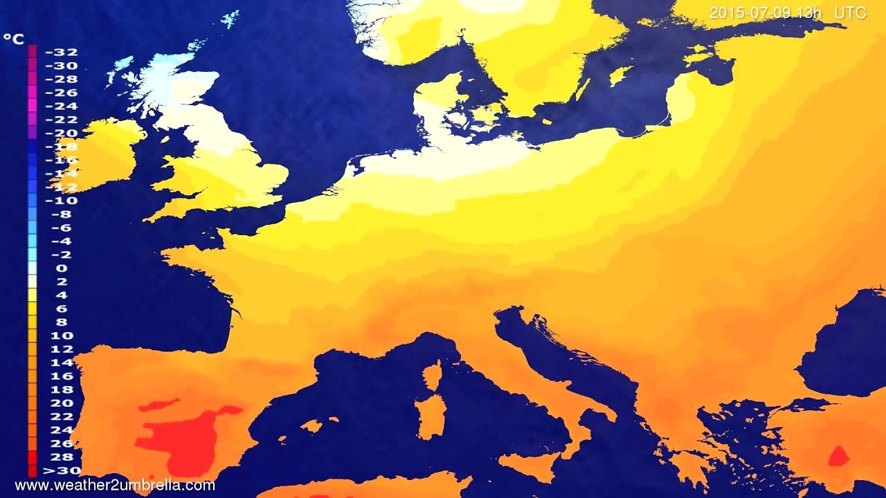 Temperature forecast Europe 2015-07-07