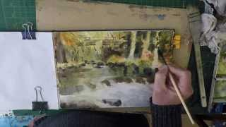 Woodland Stream Creating Texture With Gesso