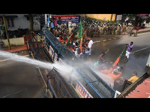 Kerala Police Uses Water Cannon Against Protesters In Thrissur