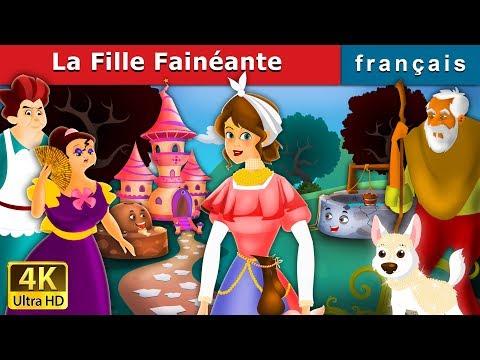 La Fille Fainéante | The Lazy Girl Story in French | Contes De Fées Français