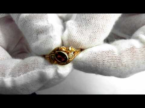 Art Nouveau (Circa 1910)  Ring – 14k, Garnet and Seed Pearls