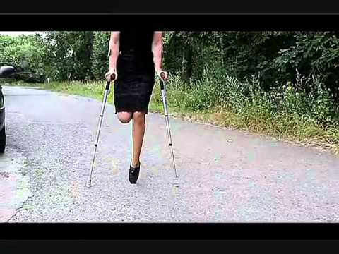 Amputee Woman Crutches