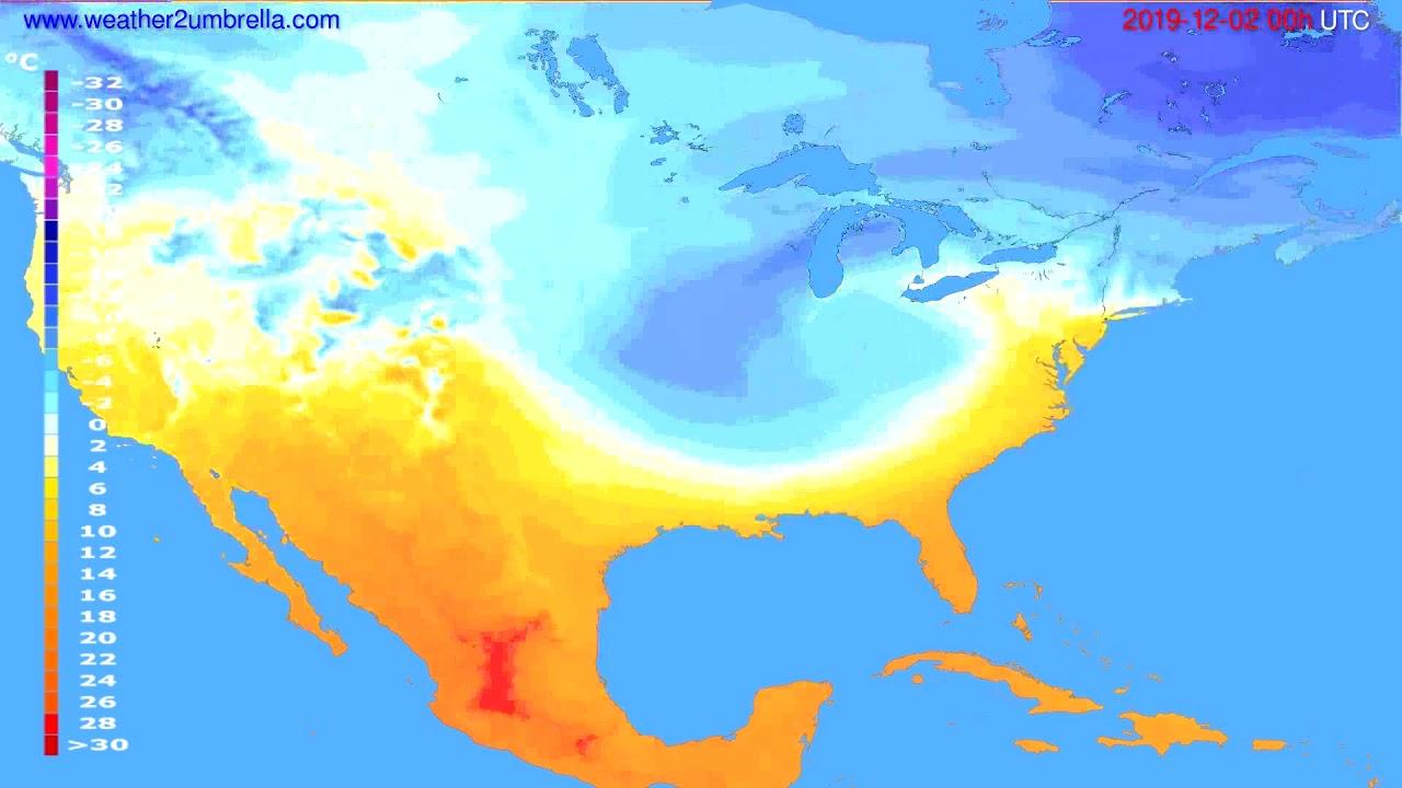 Temperature forecast USA & Canada // modelrun: 00h UTC 2019-12-01