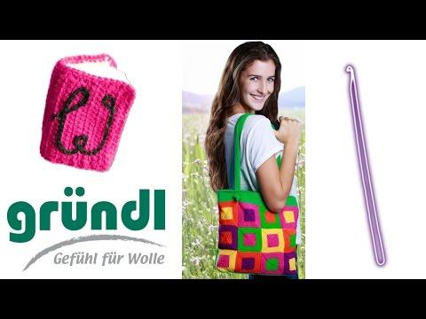 Gründl Tasche Cotton Fun häkeln lernen für Linkshänder – Woolpedia