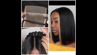 Video How To: Closure Sewin w/ Elastic Band & Blunt Cut Bob Quickweave w/ Blonde Highlights Ft. Addbeauty MP3, 3GP, MP4, WEBM, AVI, FLV Agustus 2018