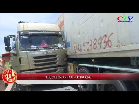Xe container vượt lấn làn gây tai nạn liên hoàn