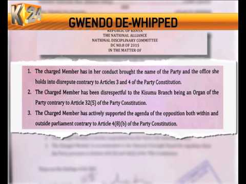 Nominated TNA Senator Joy Gwendo de-whipped by her party
