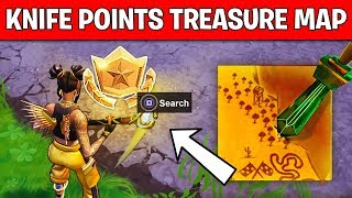 Search where the KNIFE POINTS on the TREASURE MAP LOADING SCREEN LOCATION Week 6 Challenge Fortnite