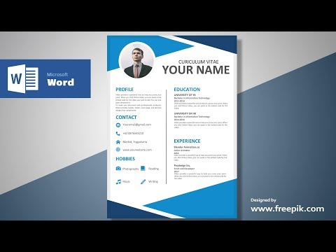 Awesome Blue Resume Design Tutorial in Microsoft Word (Silent Version) | CV Designing
