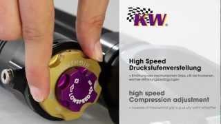Einstellung der Druckstufendämpfung im High- und Lowspeedbereich bei einem KW Clubsport Gewindefahrwerk.