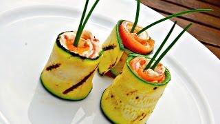 Grilled Zucchini and Smoked Salmon Rolls - Zucchini Video Recipe - Appetizer - YouTube