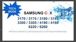Pentru crearea programului de resoftare al imprimantelor Samsung CLX-3300/3305  CLX-3170/3175 CLX-3180/3185 CLX-4190/4195  CLX-6220 CLX-6260este  necesar sa cunoastem seria imprimantei (SN) ,  seria CRUM si versiunea de firmware. Aceste informatii pot fi aflate prin imprimarea a 2 rapoarte  : Configuration  & Supplies Information .Daca imprimanta nu permite listarea paginilor  (sau cartusul a ajuns la 0%) tastati rapid urmatoarea combinatie de taste pentru imprimarea rapoartelor in TECH MODE Informatii detaliate resoftare CLX-3170/3175 http://www.ereset.com/samsung-clx/resoftare-resetare-reset-samsung-clx-3170-3175-fn-fw-w-n-clt-409/CLX-3180/3185 http://www.ereset.com/resoftare-resetare-samsung-clx-3180-clx-3185/CLX-3300/3305 http://www.ereset.com/samsung-clx/resoftare-fix-firmware-reset-clx-3305-clx-3305w-clx-3305fn-clx-3305fw/CLX-4190/4195  http://www.ereset.com/samsung-clx/resoftare-resetare-reset-clx-4195-fn-fw-cip-clt-504/CLX-6220  http://www.ereset.com/samsung-clx/resoftare-resetare-reset-samsung-clx-6220-fx-cip-clt-5082/CLX-6260 http://www.ereset.com/samsung-clx/resoftare-resetare-reset-clx-6260-fr-nd-fd-fw/--------------------------------------------------------------------------------------EN      To create fix firmware reset for printers  Samsung CLX-3300/3305  CLX-3170/3175CLX-3180/3185 CLX-4190/4195 CLX-6220 CLX-6260is necessary to know series printer (Serial Number), CRUM series and firmware version. This information can be found by printing the two reports of the printer: - Configuration     - Supplies Information. If the printer NOT allows you to print the page (or the cartridge is at  0%) quickly type the following key combination to print reports in TECH MODEDetails Fix firmware reset  (using printer without chip)CLX-3170/3175  http://www.ereset.com/samsung-clx/fix-firmware-reset-clx-3170-clx-3175-n-w-fn-fw-clt-409/CLX-3180/3185  http://www.ereset.com/fix-firmware-reset-clx-3180-clx-3185/CLX-3300/3305   http://www.ereset.com/samsung-clx/fix-firmware