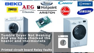 Tumble dryer printed circuit board (PCB) heater relay faults