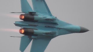RIAT 2017 *EXTREMELY CLOSE UP* UKRANIAN SU-27 FLANKER FANTASTIC DEMO WITH FULL AFTERBURNER!