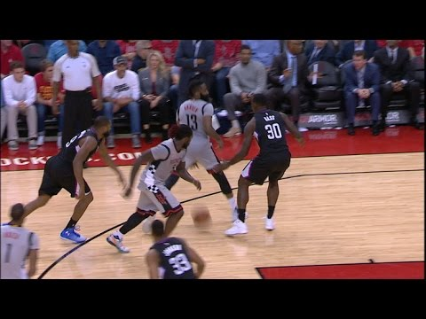 James Harden FANCY Between-the-Legs Pass for Montrezl Harrell Dunk