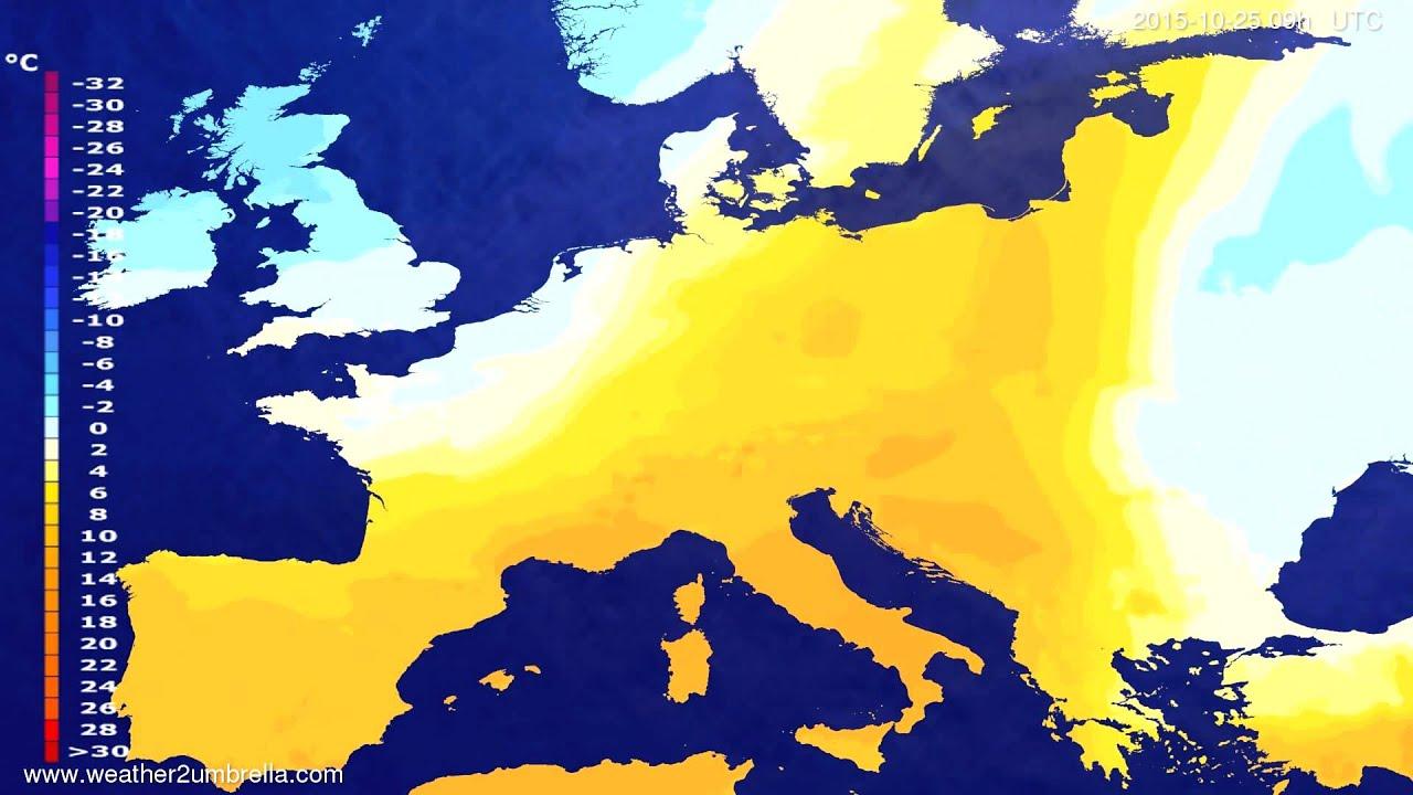 Temperature forecast Europe 2015-10-21