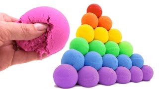 Video DIY How to Make Giant Kinetic Sand Rainbow Ball Pyramid Learn Colors and Sizes MP3, 3GP, MP4, WEBM, AVI, FLV Mei 2017