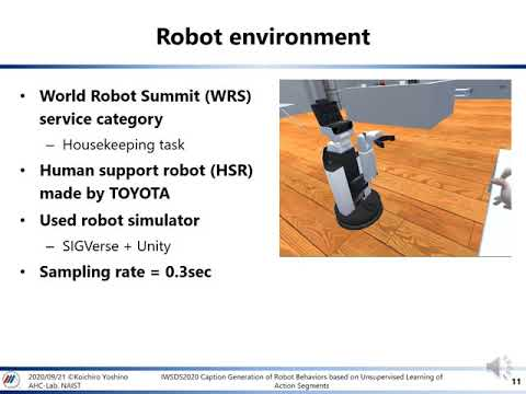 Caption Generation of Robot Behaviors based on Unsupervised Learning of Action Segments