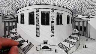 Learn how to draw using 1-Point perspective, narrated, step by step:Draw The British Museum Building, a pencil and pen drawing. SUBSCRIBE: http://www.youtube.com/circlelineartschoolWatch Next: How to Draw Perspective Playlist: http://bit.ly/1QV3SsWThis 1-Point Perspective drawing is a drawing of the interior of The British Museum in London.Here is The British Museum website:www.britishmuseum.org/For this drawing I use a 2B pencil, a black pen and a grey pen.I hope you LIKE, COMMENT & SUBSCRIBE: http://youtube.com/circlelineartschoolHow to Draw in 1-Point Perspective: Draw a Building: Draw The British Museum Step by Step: Circle Line Art School: Episode 228The first step is to draw a horizontal line slightly higher than halfway up your page,next draw a across in the middle of this line,this will be the vanishing point for this one point perspective drawing, from this vanishing point, draw two diagonal lines to the left and then two diagonal lines to the right,and now in between both of the diagonal lines on the right we need two vertical lines and then two vertical lines on the left hand side aswell again between the two diagonal lines,now on the right we can draw a triangle above this rectangle that we've got in 1- point perspective, the middle of the triangle needs to be a little bit towards the centre vanishing point, so it's not in the exact centre, but it's a bit towards the left,and then we can make this the side of a building, by drawing a series of columns and windows in between columns,now the British Museum has a circular building in its core, which once was the British Library Reading Room,to draw this circular building in 1-point perspective we can extend these two vertical lines on either side of our drawing,and now draw an ellipse, which is just a circle seen on its side on the top and the bottom of these two vertical lines, so we've got a sort of drum like shape in the middle of our drawing,I find it best to draw the full ellipse, even though we'll only be using the front part of each of the ellipses for our drawing,next we can draw another facade of a building on the left, this time the centre of the triangle of this building will be towards the right, but again towards the vanishing point which is in the centre of the page,for the bottom of the columns, we can make a small curve to show that they are three dimensional cylinders,next, if we draw a line from the vanishing point to the far right base ofthe ellipse and then another line, from the vanishing point again, to the far left base of the ellipse and then a horizontal line at the back of the ellipse and then another horizontal line at the front of the ellipse, we've sort of made a square which goes around the ellipse, a circle at the base of our drawing, now for this square in one point perspective, if we draw two diagonal lines, point to point, from the diagonals, where these two diagonals meet, that will be the centre of our ellipse, and that's very useful for this drawing because from this centre point of the ellipse we can work out where the stairs go either side of the cylinder, now all of the stairs go from lines that start at the centre of the ellipse or directly above the centre of the ellipse, as the stairs rise, so their starting point will rise as the stairs rise, but it will always bein the centre of the ellipse, the stairs have staggered in blocks with flat areas in between each of the rises, as the stairs go left and right, as they rise, we will need to draw the curved retaining wall that holds the stairs in place.Thank you for watching this 1-Point Perspective art tutorial from my channel, Circle Line Art School, please subscribe to my channel for a new art tutorial each week, there are now more than 200 of my drawings to watch! http://www.youtube.com/circlelineartschoolHi, my name is Tom McPherson and I founded Circle Line Art School as an online art education resource for all. My aim is to inspire people to learn to draw and be more creative.Please leave a comment to let me know what kind of drawing you would like to see next.You can follow me on:Facebook: http://facebook.com/circlelineartschoolInstagram: https://www.instagram.com/circlelineartschool/For weekly YouTube art videos: http://www.youtube.com/circlelineartschoolFor my website please visit: http://www.circlelineartschool.comThank you for your support and have a great day! Tom McPhersonCircle Line Art Schoolhttp://www.circlelineartschool.comMusic used in this art lesson:Dreams Become Real by Kevin MacLeod is licensed under a Creative Commons Attribution licence (https://creativecommons.org/licenses/by/4.0/)Source: http://incompetech.com/music/royalty-free/index.html?isrc=USUAN1500027Artist: http://incompetech.com/How to Draw the British Museum in 1-Point PerspectiveCircle Line Art School