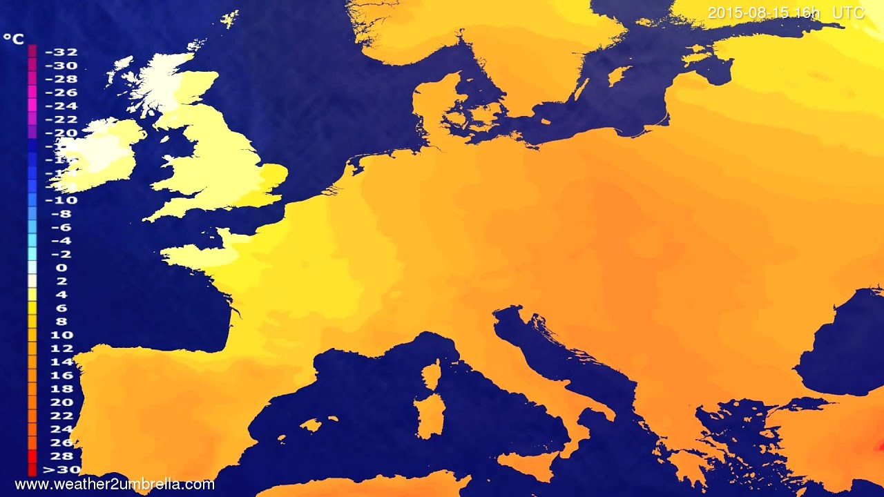 Temperature forecast Europe 2015-08-13