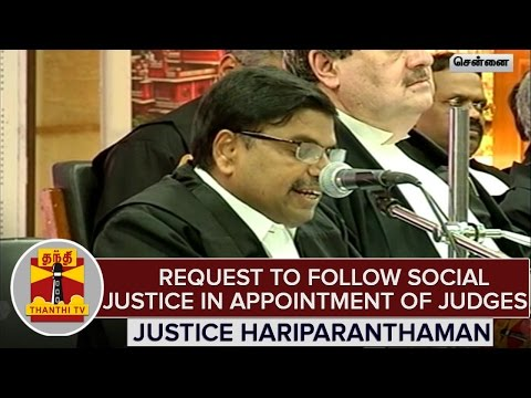 Justice-Hariparanthaman-Urge-To-Follow-Social-Justice-in-Appointment-Of-Judges--Thanthi-TV