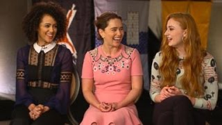 'Game of Thrones'  Emilia Clarke, Sophie Turner, Hannah Murray, Lena Headey, Maisie Williams and Nathalie Emmanuel sat ...