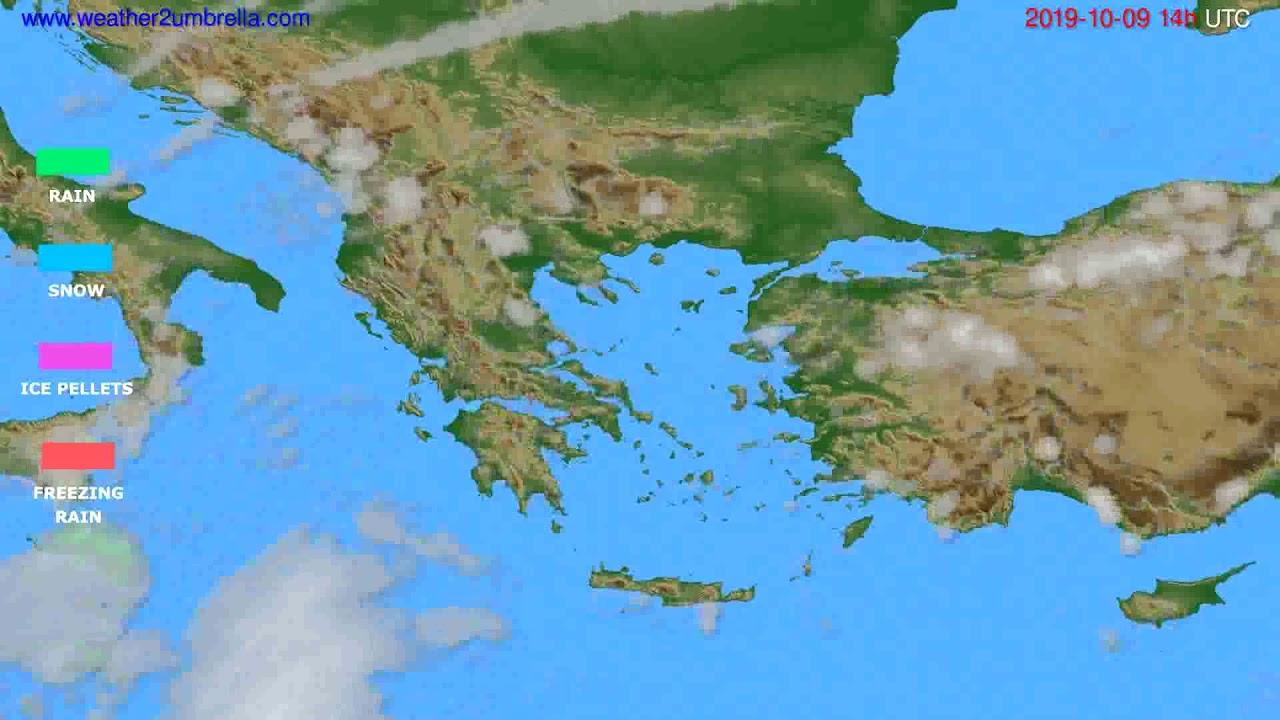 Precipitation forecast Greece // modelrun: 12h UTC 2019-10-07