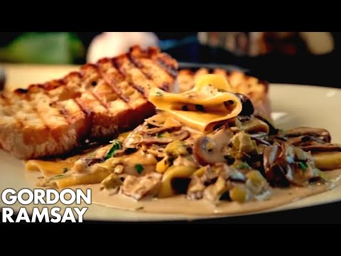 gordon - A simple dish of pasta with a creamy mushroom sauce and fresh garlic bruschetta. Leeks are a fantastic ingredient - cheap and easy to work with and they give...