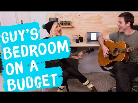 Under $300 Bedroom Makeover ... FOR A GUY  Mr. Kate Decorates on a Budget