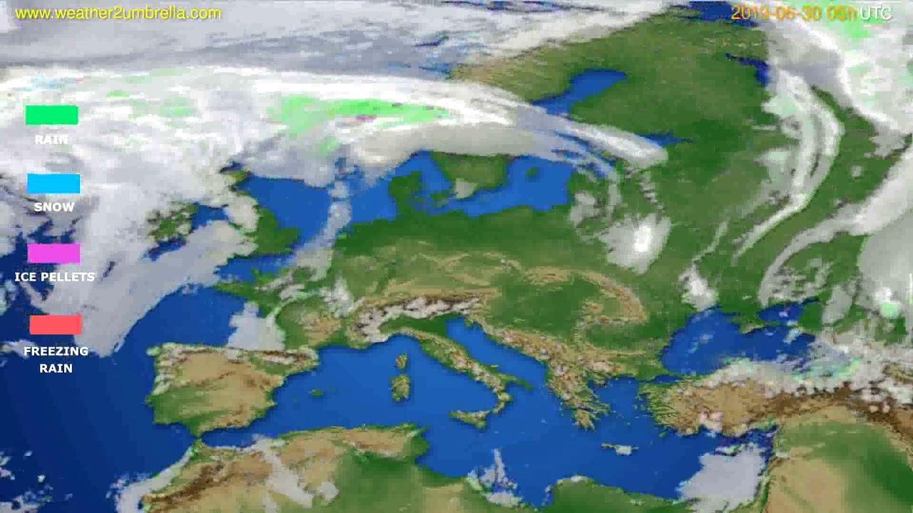 Precipitation forecast Europe // modelrun: 00h UTC 2019-06-28