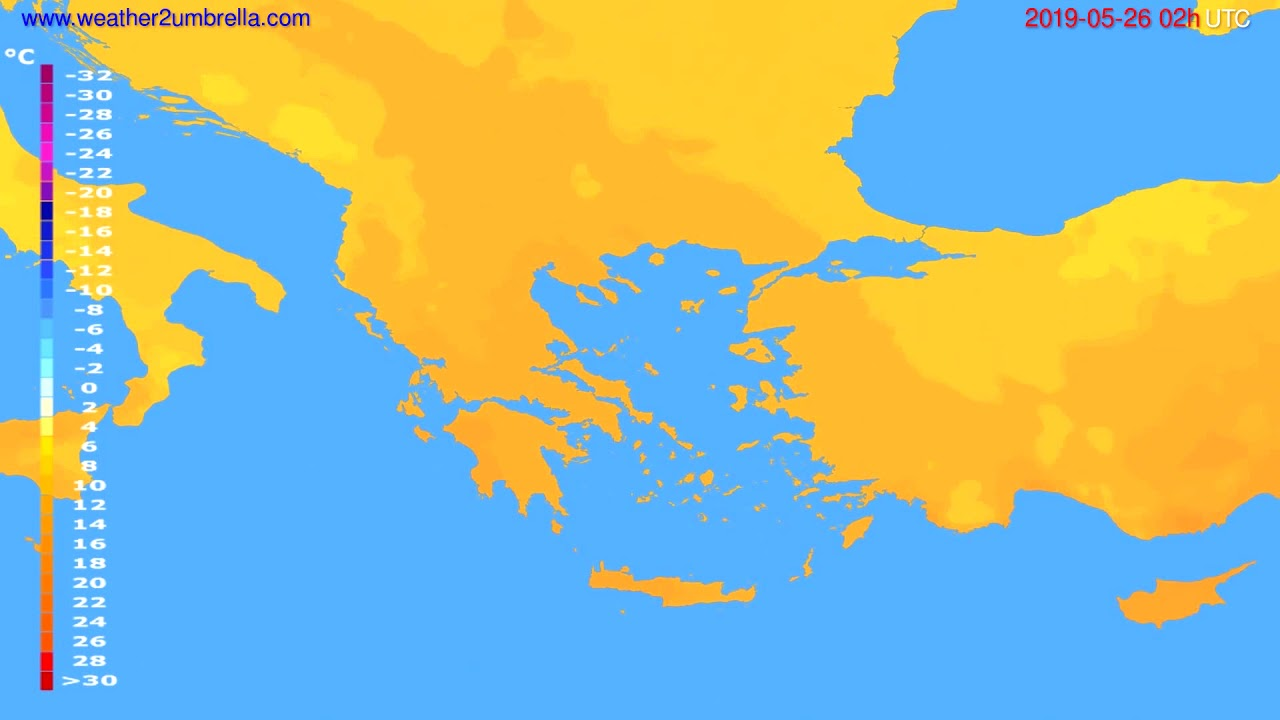 Temperature forecast Greece // modelrun: 00h UTC 2019-05-23