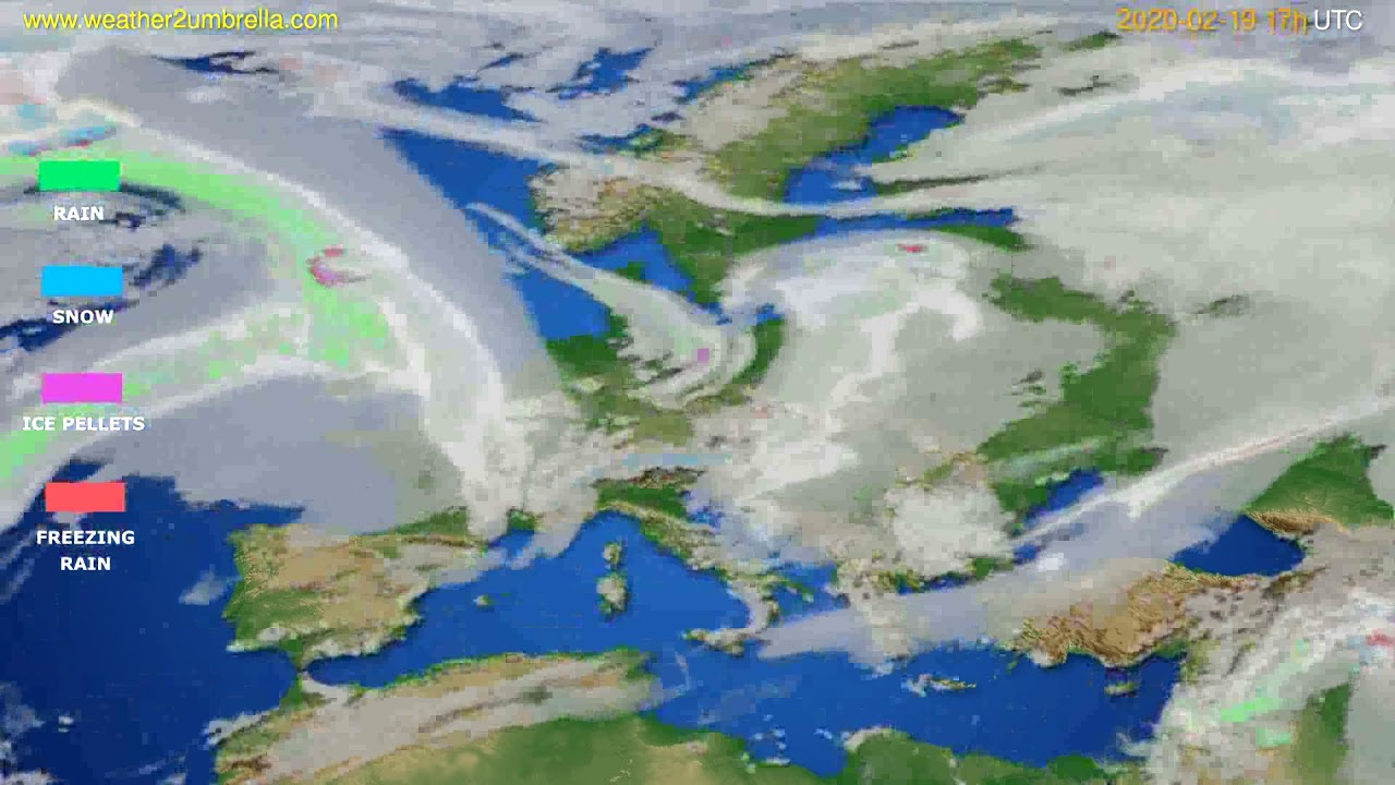 Precipitation forecast Europe // modelrun: 12h UTC 2020-02-18