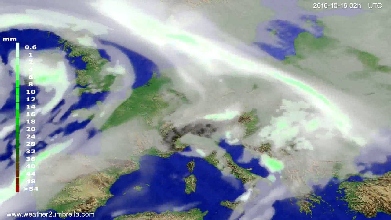 Precipitation forecast Europe 2016-10-12