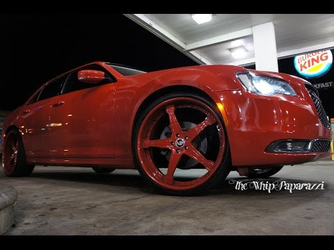 Red Chrysler 300 on Red Forgiato Quinto Wheels