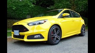 The Ford Focus ST is a hot hatchback developed in Europe as a driver's car. The exterior is slightly sportier than the regular Focus, it's the inside that gets more attention thanks to heavily bolstered front seats. The suspension is firm and the seats are tight, giving a sense of sportiness. The engine is up to the task, thanks to a turbo 4-cylinder with 252hp.If you are in the market for a VW Golf GTI, try the Focus St as a comparison. It isn't as refined as the Golf but for some the edgy feel mught be what you are looking for.