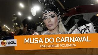 Ju Isen, que ficou conhecida como a musa dos protestos contra a ex-presidente Dilma, voltou ao sambódromo um ano após ter sido agredida e expulsa do desfile da Unidos do Peruche, quando tentou protestar no meio do Anhembi em São Paulo
