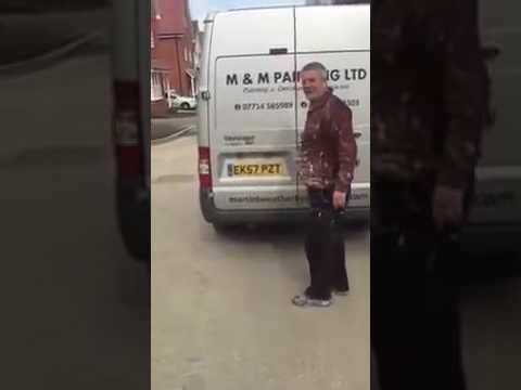 Funny Builder Is Angry Covered In Paint In The Back Of Van #lol #wtf #fail