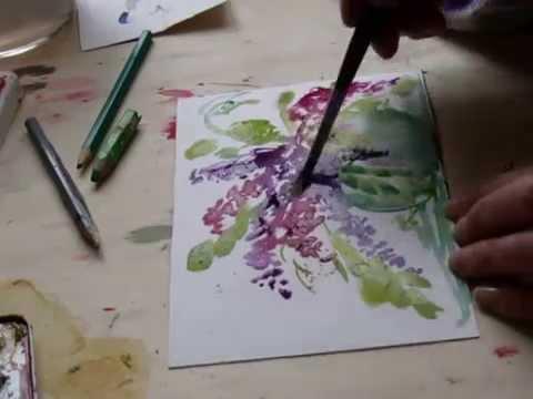 malen lernen mit Lisy (Flieder in Vase )