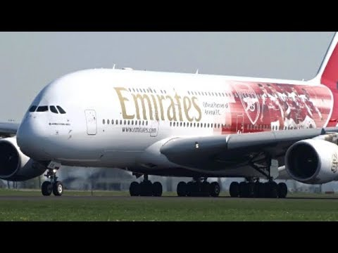 Arsenal F.C. Livery!| Emirates A380-800 SUNNY Take-Off At Amsterdam Schiphol Airport!