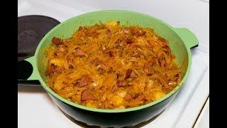 Солянка домашняя из капусты, картофеля и колбасы (сосисок)