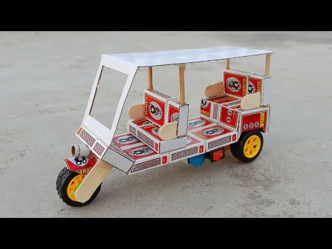 how to make rickshaw at home - Diy matchbox tuk tuk auto taxi
