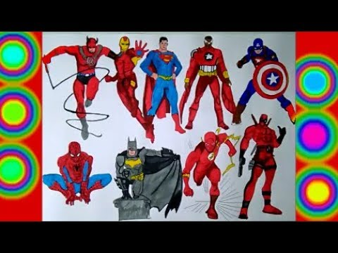All Characters Superheroes Spiderman Flash, Captain america, Daredevil Batman superman Coloring page