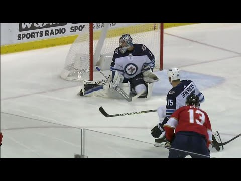 Video: Panthers score twice in 29 seconds on Jets young goalie Comrie
