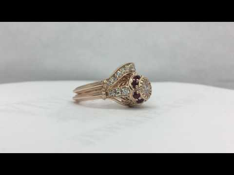 Rose gold, ruby and diamond wedding ring set
